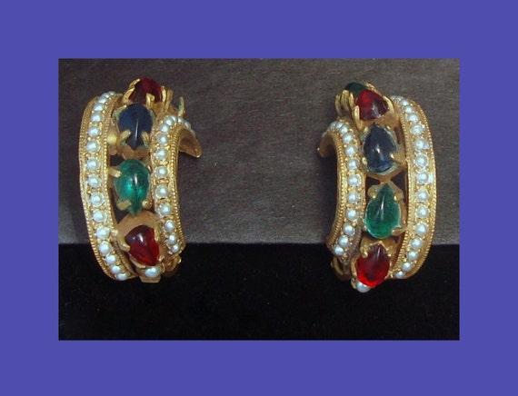 Vintage Hattie Carnegie Clip on HOOP Rhinestone Earrings Designer