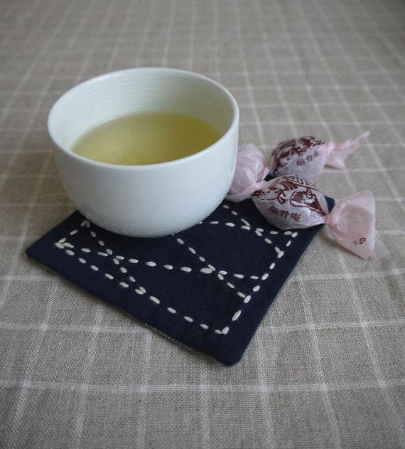 DIY Sashiko Embroidery Kit: Set of 4 Coasters - Renga patterns w/ Kokko Roses backing