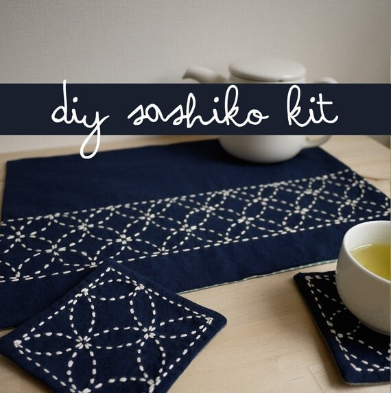 DIY Home Decor Sashiko Embroidery Kit Nigiyaka TeaforTwo