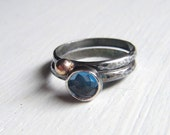 London Blue Topaz Silver With 14kt Gold Rings Made To Order