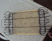 RARE Black Metal and Brass Mesh Beverage Serving Tray Holds 6 Tumblers