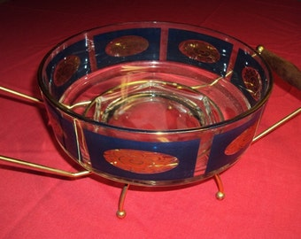 Retro Serving Deep Dish with Stand Blue Gold Gilded