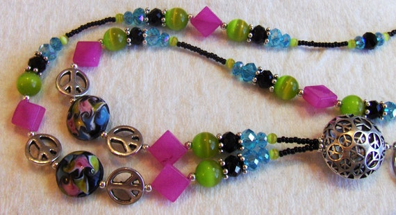 Colorful Peace lampwork & crystal lanyard - SUPER SUMMER SALE
