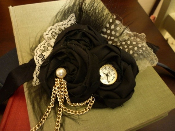 Triple Rosette Headband/ Brooch with Vintage Accents