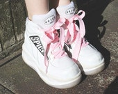 AMAZING 90s women's SPICE GIRLS platform white club kid raver sneaker shoes size 38 (7.5-8)