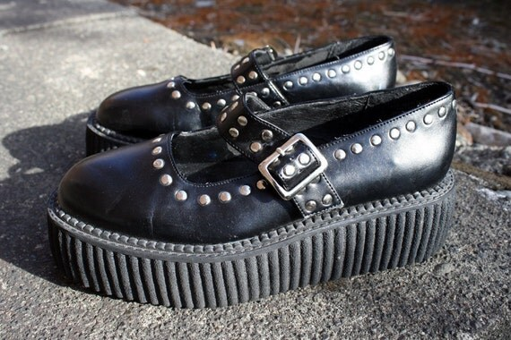 vintage shoes 80s 90s creepers mary jane style studded by ...