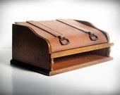 Vintage Desk Top Organizer Wood Leather