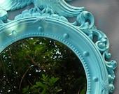 Vintage Mirror Aqua Ornate French Eagle Beach Seaside Cottage Round Upcycled Blue