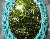 Mirror Aqua Blue Ornate French Paris Apartment Hollywood Regency Upcycled Large Syroco