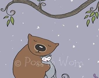 Childrens art print Goodnight Poss