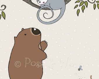 Childrens art Mini Print Hello Poss