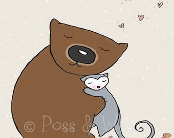 Childrens art print A Nice Wom Hug