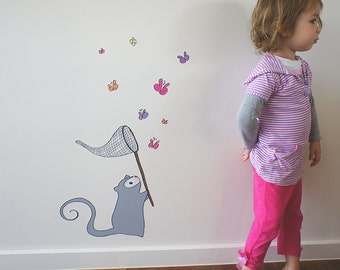 Wall decal, adhesive fabric Possum Butterfly