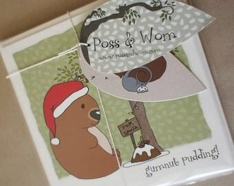 Christmas cards PACK OF 8 square, Australian handmade, Poss and Wom