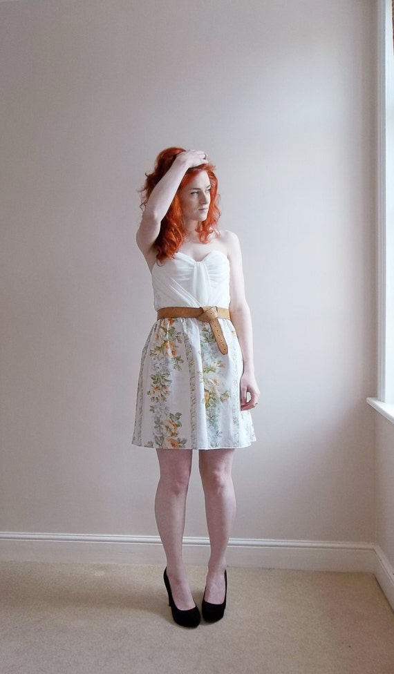SALE - Free Shipping- Only One Ivory, Orange, Green Vintage 50s Inspired Floral Cotton Summer Skirt Rockabilly free shipping
