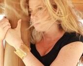24 karat gold plated Rosette Metal Lace Bracelet