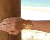 Gold Celtic chain Bracelet metal lace Square 24 gold karat plated