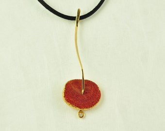18K Gold, Diamond and Coral Root Pendant, No 097- 3