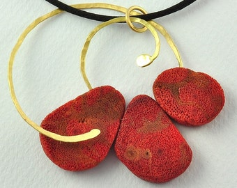 18K Solid Gold and Coral Root, Handcrafted Pendant, No. 117- 3