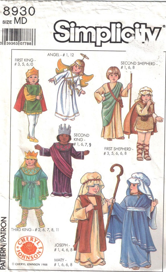 Bible Character Costume Patterns Adult Size Medium  Uncut  Simplicity 8930