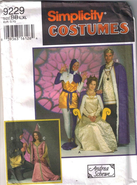 Medievel Costume Pattern Adult  L and XL   Uncut  Simplicity 9229