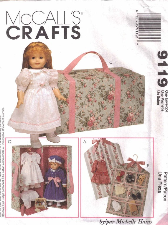 """Doll Carry Case Pattern, Garment Bag and more for 18"""" Doll  McCalls 9119"""