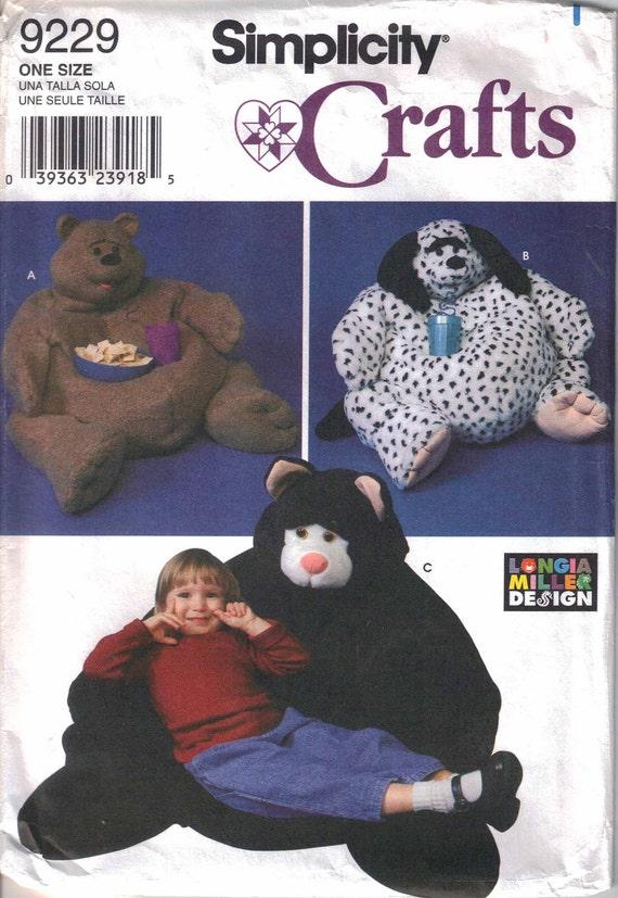 Animal Bean Bag Chair Pattern Uncut Simplicity 9229 Child