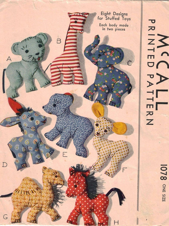 Stuffed Animals Vintage Pattern 1943 Uncut Giraffe