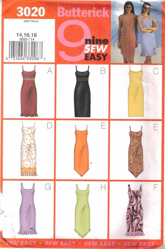 Misses Dress Pattern 9 Styles  Butterick 3020 Size 14, 16, 18  Uncut