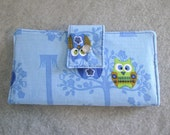 Fabric Wallet - Owls on Blue Background - Black Friday Cyber Monday