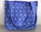 Canvas Tote Bag -- Blue Floral