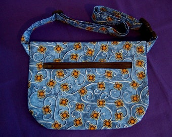 Hip Bag - Blue Flowered with Swirls