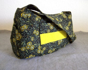 Shoulder Bag - Sunflowers on Black Background