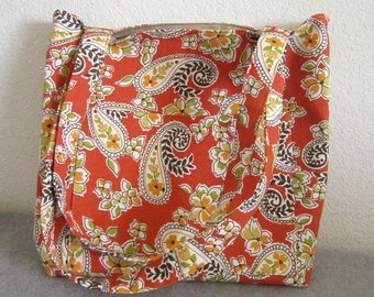 Canvas Tote Bag -- Orange Paisley