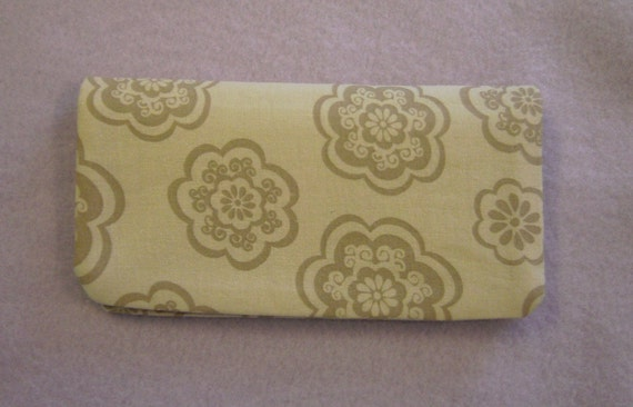 Fabric Checkbook Cover - Tan Flowered