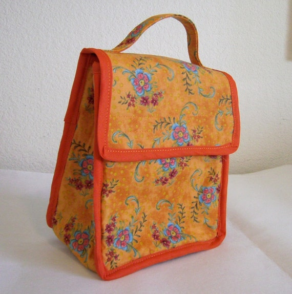 Insulated Lunch Bag - Orange Floral