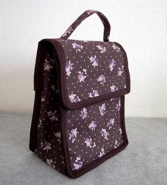 Insulated Lunch Bag - Roses on Brown Background