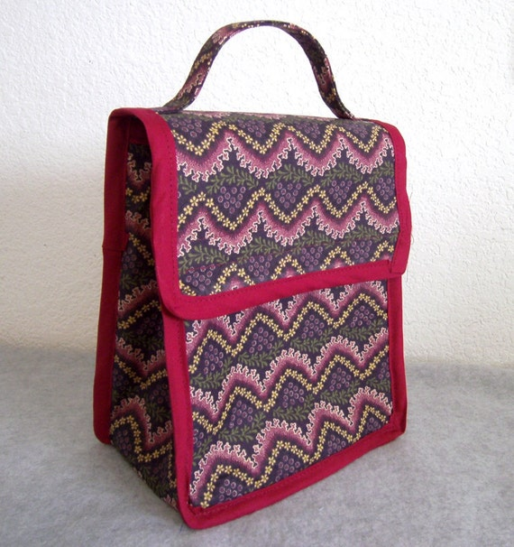 Insulated Lunch Bag - Maroon with Flowers - Chevron Pattern