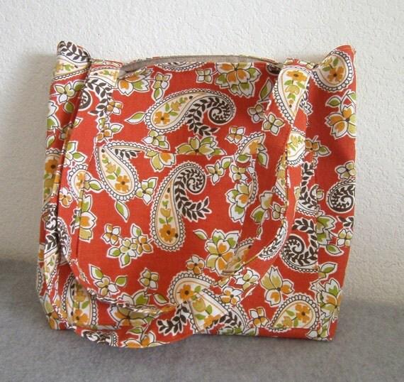 Canvas Tote Bag -- Orange Paisley