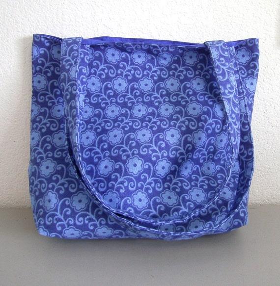 Canvas Tote Bag -- Blue Floral