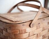 Vintage Wood Picnic Basket