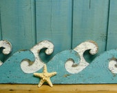 Weathered White & Turquoise Ocean Sea Waves Sign Beach House Decor