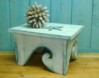 Waves Step Stool Footstool Bench Bright White Turquoise Ocean Beach House Decor by CastawaysHall