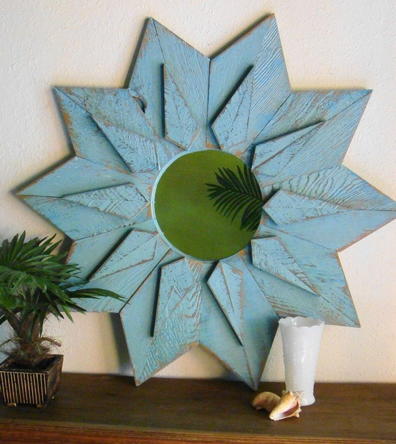 Aqua Turquoise Blue Starburst Mirror by Castawayshall- 36 inches