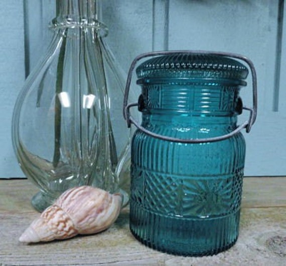 Vintage Teal Blue Turquoise Avon Apothecary Glass Jar