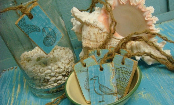 Gift Tags Turquoise Weathered Beach Sea Shell Stamped Wood and Twine Tags - 6