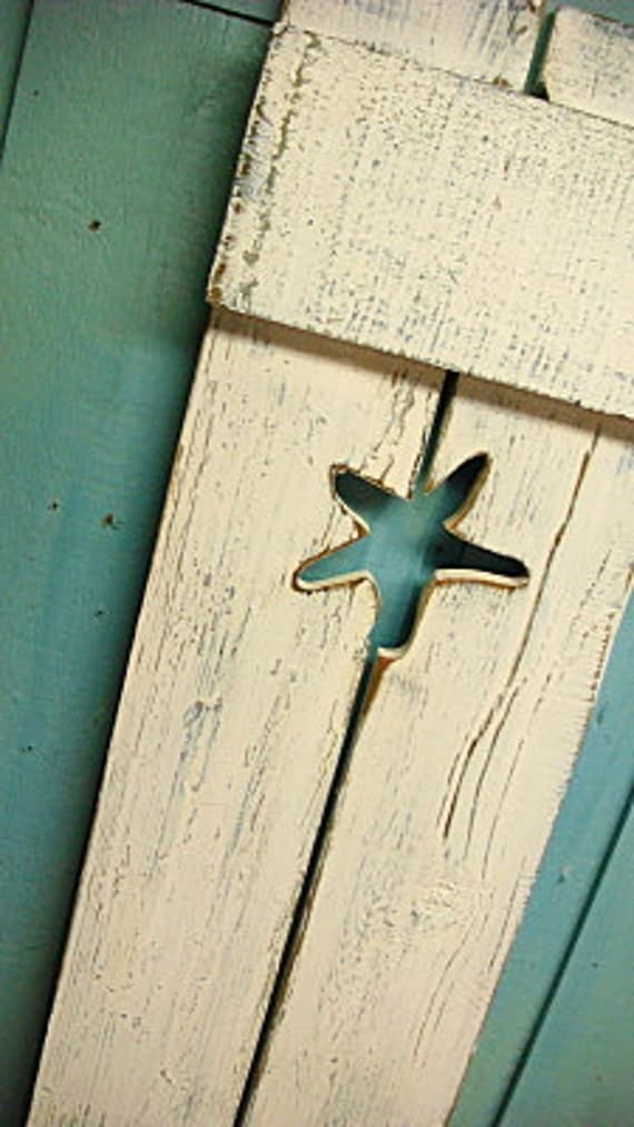 RESERVED FOR CaseyCelender Two Custom 60 Inch White Weathered Starfish Cutout Wood Beach House Shutter