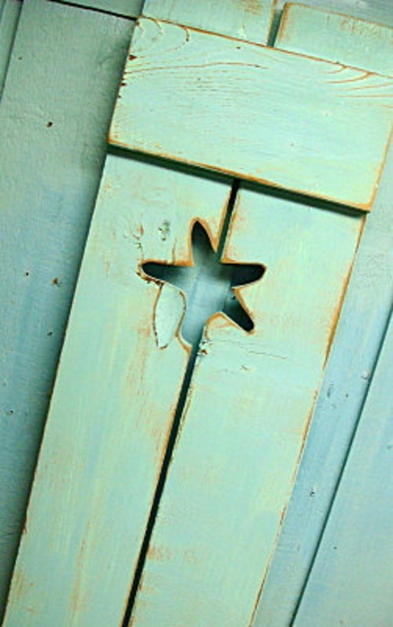 RESERVED FOR USNAMOM22 - Two Turquoise Starfish Cutout Wood Beach House Shutters 62 inch