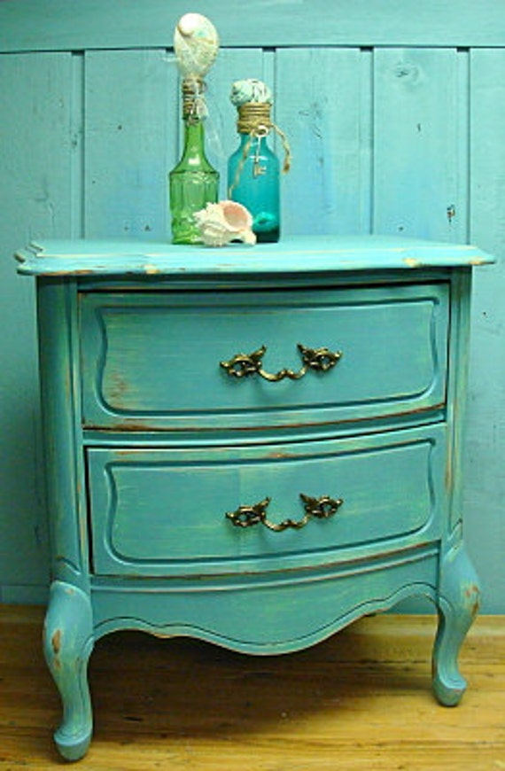 Turquoise Bermuda Reef Vintage Bow Front Side Table or Night Table