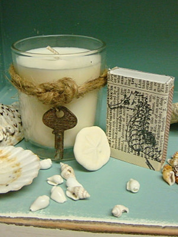 Soy Votive Candles Vintage Key Creamy Coconut With Hand Stamped Matches Set of 3